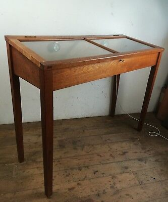 Glass Shop Table Display Cabinet Collectors Old Wood Case Museum oak