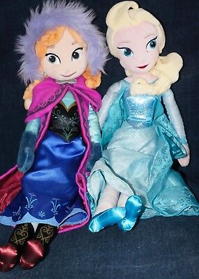 "2 Disney Frozen 21"" Soft Plush Dolls Elsa & Anna From Disney Store"