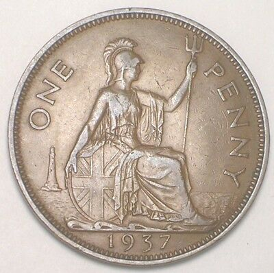 1937 UK Great Britain British One 1 Penny George VI WWII Era Coin VF+
