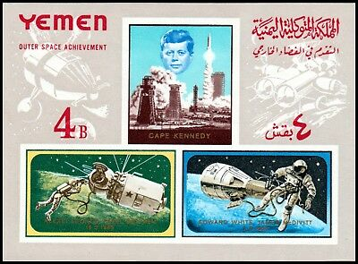 ✔️ Yemen Kingdom 1965 - Space Kennedy - Mi. Block 27 B Imperf ** Mnh [Ykd.b.27]