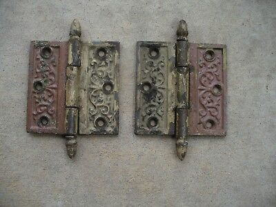 "Antique Victorian Ornate Decorative Eastlake 4"" x 4"" Door Hinges Matched Set"