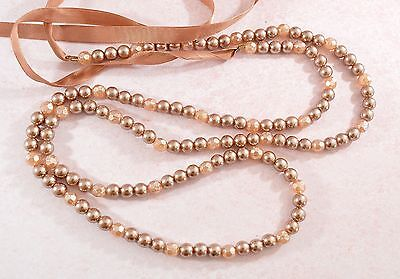 Vintage style long light brown faux pearl ribbon necklace