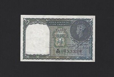 "1940 India 1 Rupee, P-25a, Without Letter ""A"", aUNC, Almost Uncirculated"
