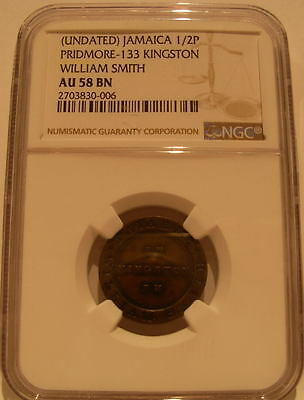 Jamaica Undated Brass 1/2 Penny NGC AU-58BN Pattern British Colony William Smith