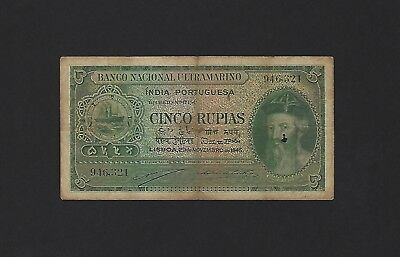 1945 Portuguese India 5 Rupias, P-35, Scarce Older Issues, Not Cancelled, Rupees