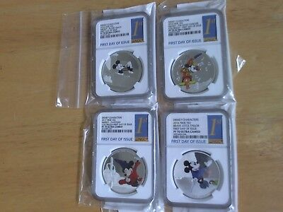 2016 Niue Disney Through the Ages 4 Coin Set NGC PF70 First Day of Issue W/OGP