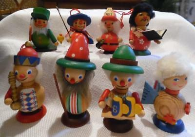 """Vintage Lot of 8 Wooden Ornaments Collection-Made in Germany 2-1/2"""" to 4"""" Tall"""