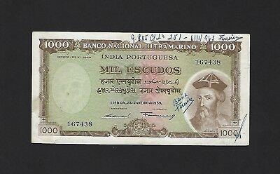 1959 Portuguese India 1000 Rupias, P-46, 100% Original VF, with Redeemed Notes