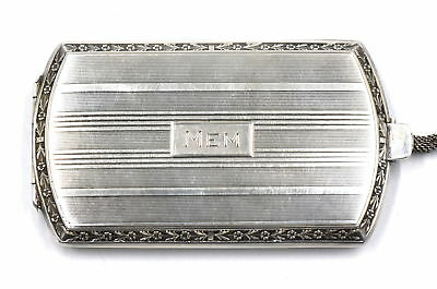 ART DECO WEBSTER COMPACT COIN CARD CASE FANCY ENGRAVED STERLING SILVER c1920's