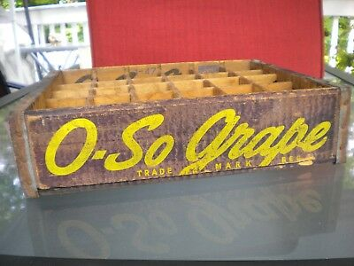 Vintage 1947 O. So Grape Wood Soda Pop Case Crate 30 Dividers