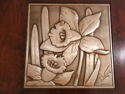 Bruce Fox Hand Worked Sterling Silver Decorative Wall Plaque Daffodils RARE!