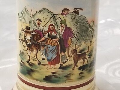 Antique Beer Stein Tankard Hand Painted Farm Family Dog Pewter Lid Signed G.D.