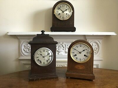 Three Vintage Clocks. 8 Day. Two German. One R.A.F Type. Spares Or Repairs.
