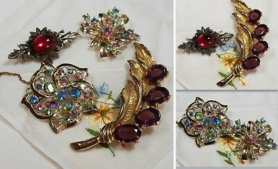 Job Lot of 4 x Paste Vintage Brooches