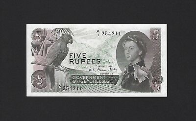 1968 Seychelles 5 Rupees P-14a, 100% Original EF Extremely Fine Scarce QEII Note