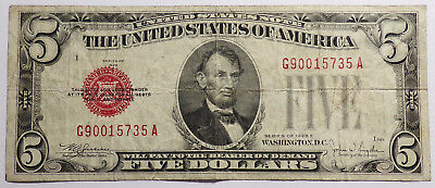 1928 E $5  Five Dollar Red Seal United States Note