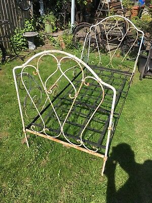 Antique French Wrought Iron Child's Junior Day Bed  Folds flat
