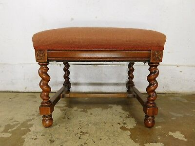 Antique Solid Oak English Barley Twist Carved Needlepoint Footstool