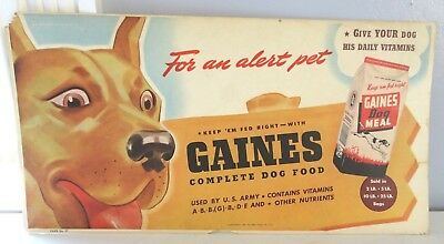 WWII Gaines Dog Food Used By U.S. Army Bus Trolley Cardboard Advertising Sign