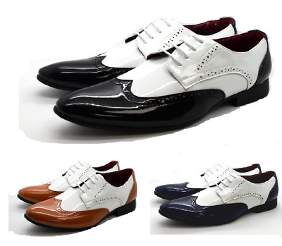 New Mens Patent Laces-Up Dress Two Tone Brogues Italian Suit Shoes UK Sizes 6-12