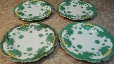 """Vintage Set of 4 Brown Westhead Moore Plates 5 3/4"""" Green/ White/  Gold ~Lovely!"""