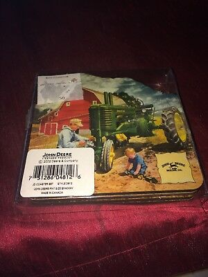 John Deere Set Of 4 Coasters W/Cork Backing BNIOP New official