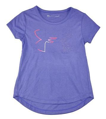 Under Armour Girls Purple & Pink Dry Fit Logo Top Size 5