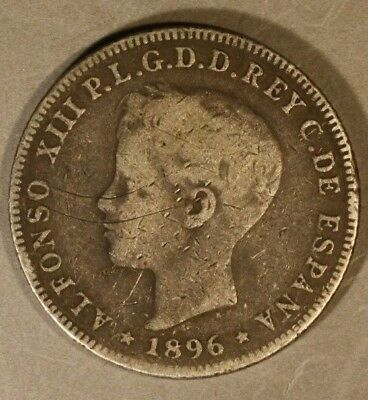 1896 Puerto Rico 40 Centavos Circulated Even Wear    ** FREE US SHIPPING **
