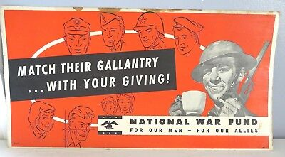 WWII National War Fund For Our Men For Our Allies Bus Trolley Cardboard Sign