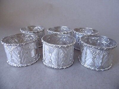 Beautiful set of 6 vintage Malaysian solid silver napkin rings