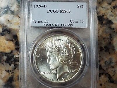 $250 VALUE!  1926-D Peace Silver Dollar, PCGS MS-63!