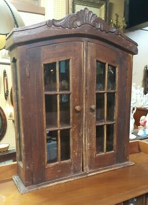 Victorian wall curio cabinet scroll motif Apothecary store display
