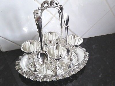 Vintage Gleaming Good Quality Silver Plate Egg Cup Cruet On Stand Walker & Hall