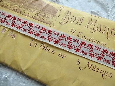 5 metres antique Bon Marche embroidered braid from France