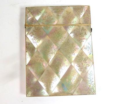 ANTIQUE 19TH CENTURY MOTHER OF PEARL CARD CASE FLOWERS BIRDS d