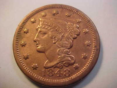 1848 Braided Hair Large Cent High Grade Xf ? Cleaned Still Great  Type Coin