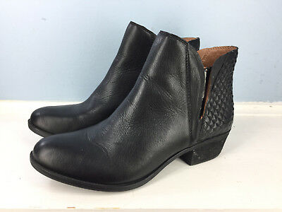 6bb2e5f415a LUCKY BRAND BLACK Ankle Booties 8.5 M Boots Brenon Leather Anthropologie EUC