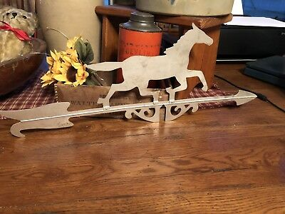 Vintage Horse Lightning Rod Ball Weathervane Arrow Silver Metal