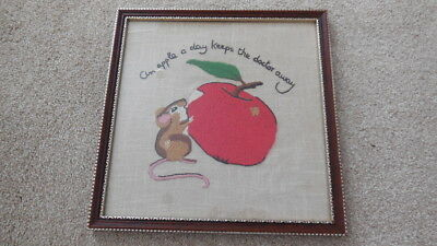 """Very Pretty Vintage Hand Embroidered Picture On Linen Framed 11x11"""""""