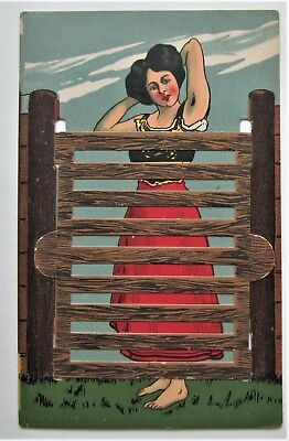 MECHANICAL Bathing Beauty Behind a Fence Novelty Postcard