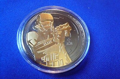 2018 1 oz Niue .999 Silver Star Wars Stormtrooper 24K Gold Ruthenium Coin Round