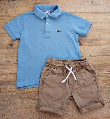 Lacoste Next Boys Summer Bundle Outfit Blue Polo Top Shirt Shorts Age 3-4 Y