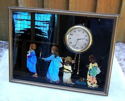 Antique Art Deco Butterfly Wing Brass Framed Picture Clock~Children Going To Bed