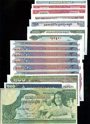 Lot of 16 National Bank of Cambodia Currency Notes #130830 R