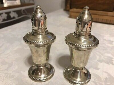 Vintage Pair Duchin Creation Weighted Sterling Silver/Glass Salt Pepper Shakers