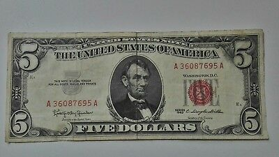 1963 A series $5 Five Dollar Red Seal Note Bill US Currency  nice note