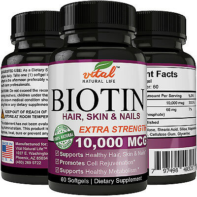 Biotin 10,000 mcg Maximum Strength Supports Hair Growth, Glowing Skin & Nails