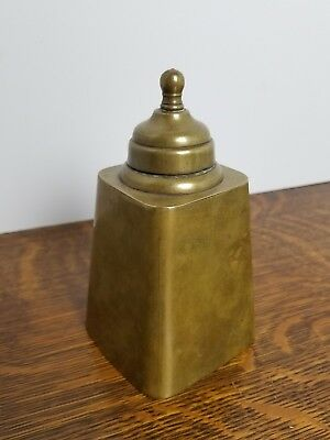 ANTIQUE 19th CENTURY BRASS ENGLISH TEA CADDIE JAR BRASS TIN CANISTER CADDY
