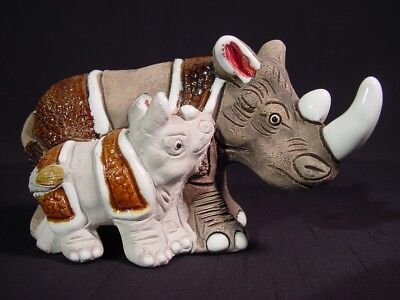 Vintage Fine Pottery Paperweight Rhinoceros Rhino & Calf