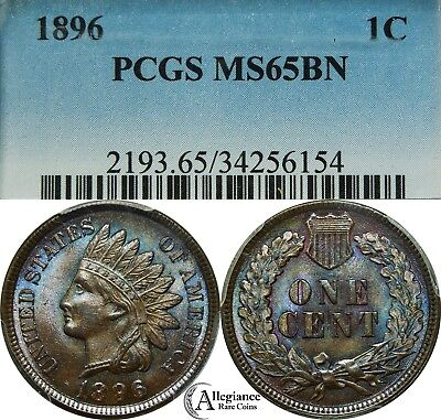 1896 1c Indian Head Cent PCGS MS65 BN blue rainbow toned GEM rare old type coin